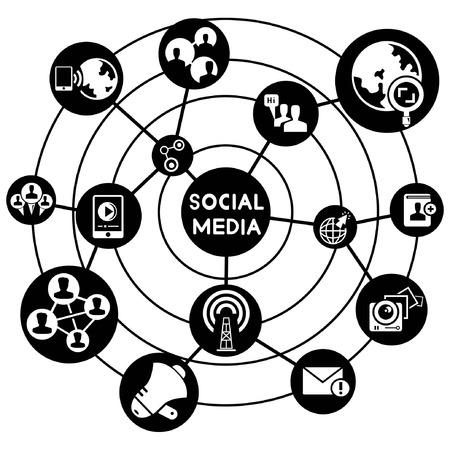 social media network, connecting diagram Vector