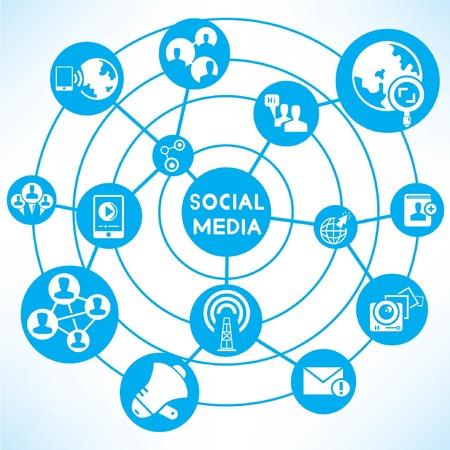 social media network, blue connecting diagram Vector