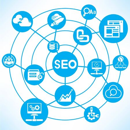 search engine optimization, blue connecting diagram Vector