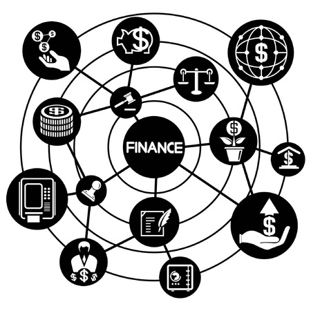 financial network, connecting diagram Vector