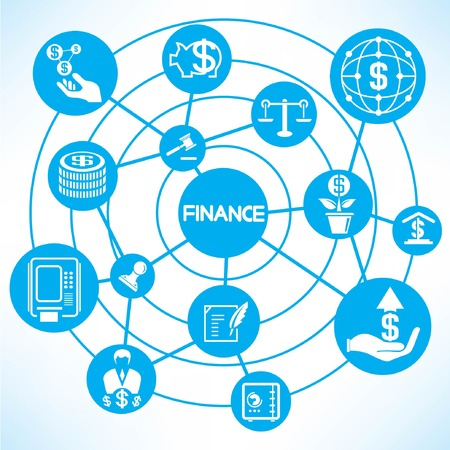 financial network, blue connecting diagram Illustration
