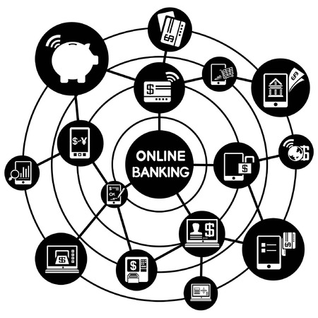 online banking network, connecting diagram Vector