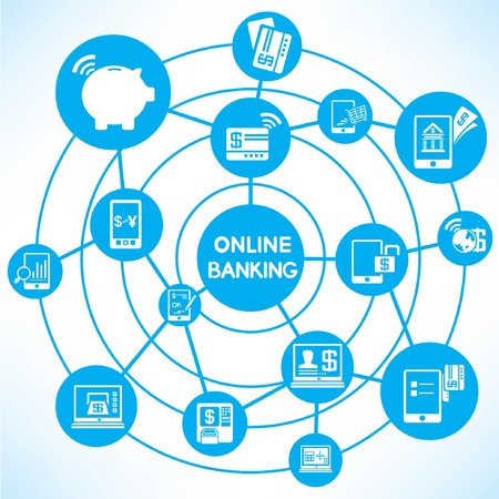 online banking, blue connecting diagram Vector