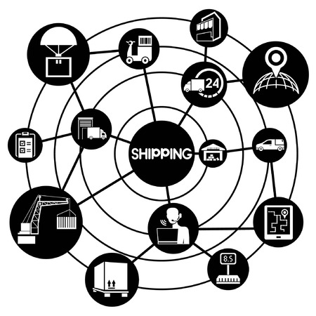 Shipping Network Connecting Diagram Royalty Free Cliparts Vectors
