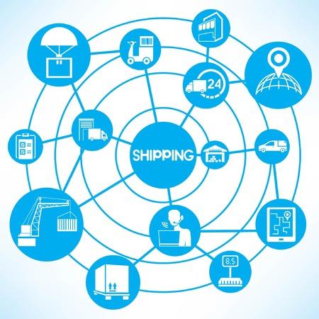 shipping, blue connecting diagram Vector
