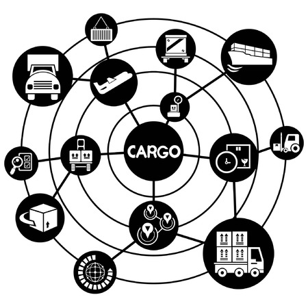 cargo management, connecting network diagram Vector