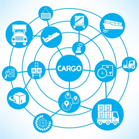 cargo management, blue connecting network diagram Vector