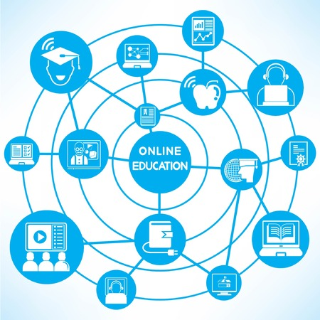 net book: online education, blue connecting network diagram