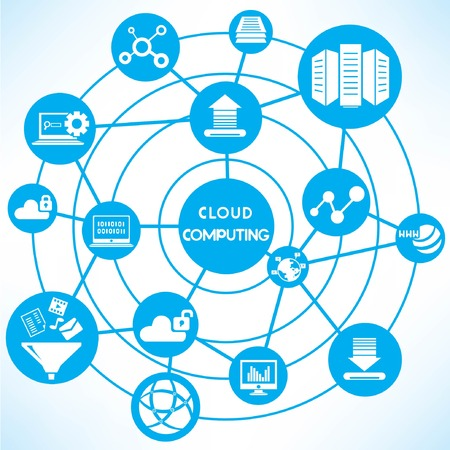 database security: clud computing network, blue connecting network diagram