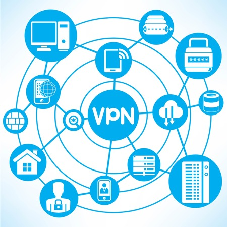 info business: virtual private network, blue connecting network diagram