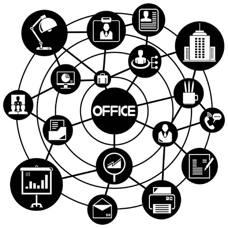 office and organization, connecting network diagram Vector