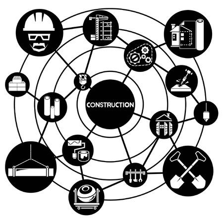 construction management: gestione della costruzione, che collega diagramma di rete Vettoriali