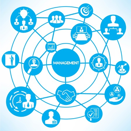 business management, blue connecting network diagram Stock Vector - 28789302