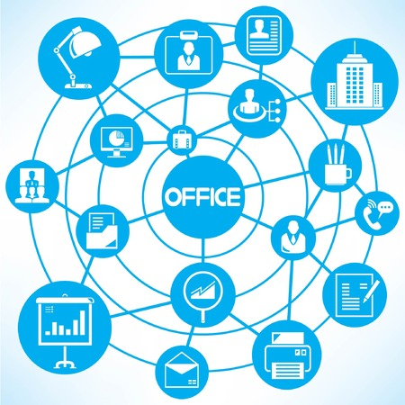 office and organization, blue connecting network diagram Vector