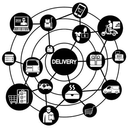 Lieferung und Versand Service, zwischen Netzwerkdiagramm Standard-Bild - 28789304