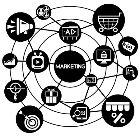marketing, connecting network diagram Vector