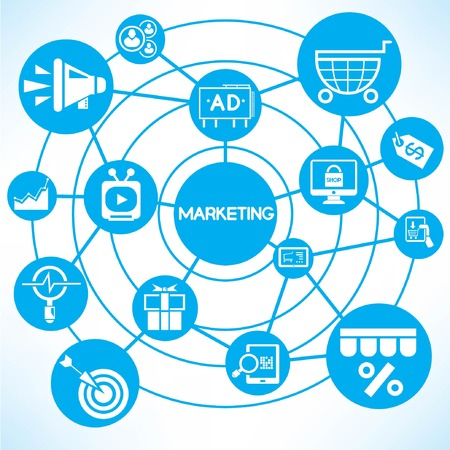 marketing, blue connecting network diagram Vector