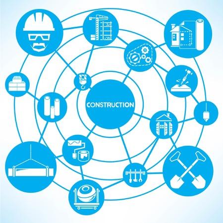 construction management, blue connecting network diagram