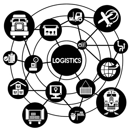 portage: logistic network, connecting network diagram Illustration