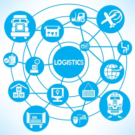 logistic network, blue connecting network diagram Vector