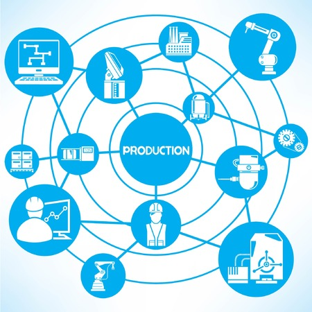 production plant: production and industrial network, blue connecting network diagram