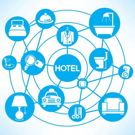 hotel management, blue connecting network diagram