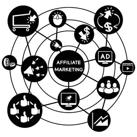 affiliate marketing, connecting network diagram Vector