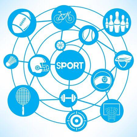 mind map: sport network, blue connecting network diagram Illustration