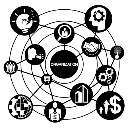 tendance: organization management, , connecting network diagram Illustration