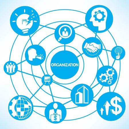 organization management, blue connecting network diagram Vector