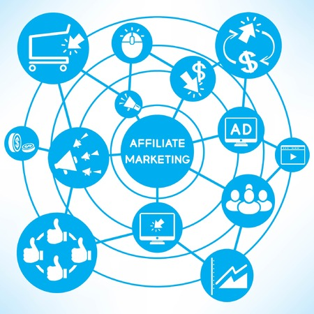 affiliate marketing, blue connecting network diagram