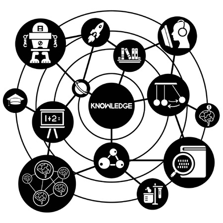 knowledge network, connecting network diagram Illustration