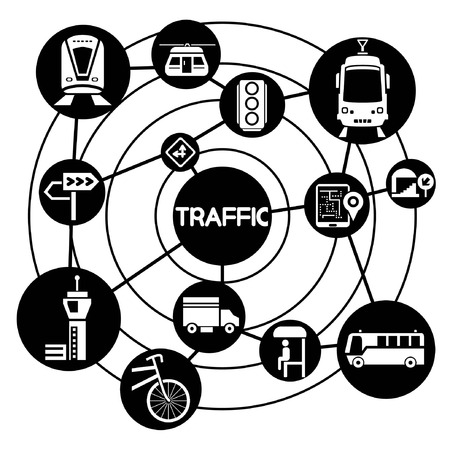 traffic and transportation, connecting network diagram Vector