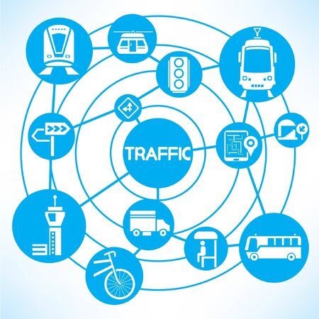 traffic and transportation, blue connecting network diagram Vector