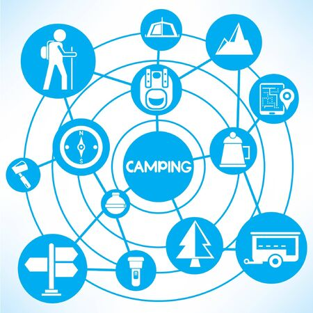 camping, blue connecting network diagram Vector