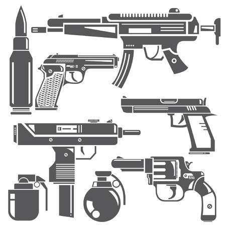 automatic pistol: gun, machine gun set Illustration