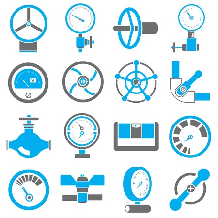 conduit: gauge and meter icons, black and blue color theme