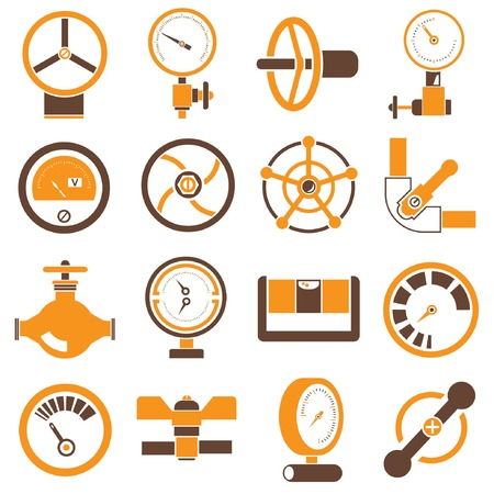 conduit: gauge and meter icons, brown and orange color theme