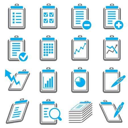 clipboard and document icons, gray and blue color thrme Vector