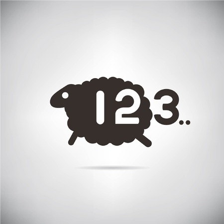 sheep and count number, bed tome concept Vector
