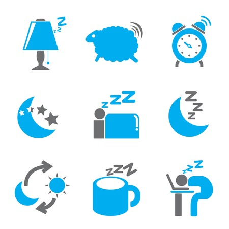 bed time icons, gray and blue color thme Vector