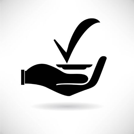 hand holding check mark Stock Vector - 29185790