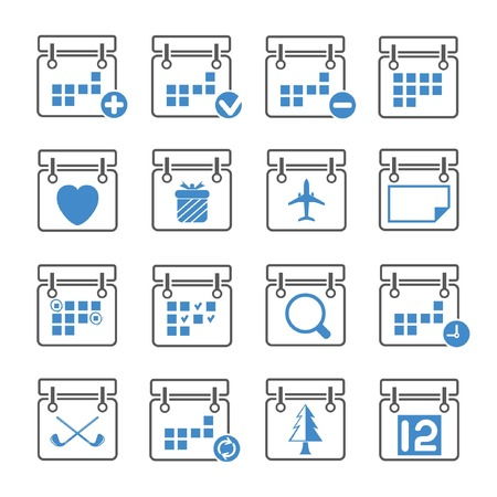 calendar icons, gray and blue theme Vector