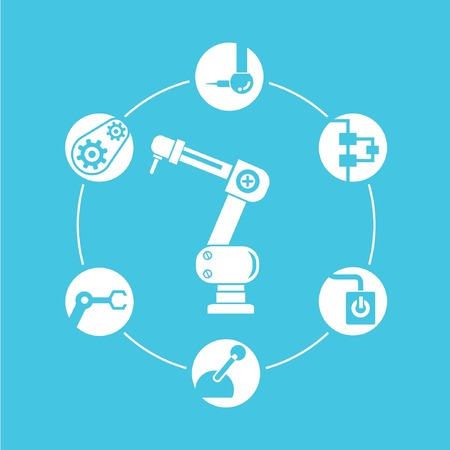 blue buttons: robotic diagram, automation in blue background, circle info graphic Illustration