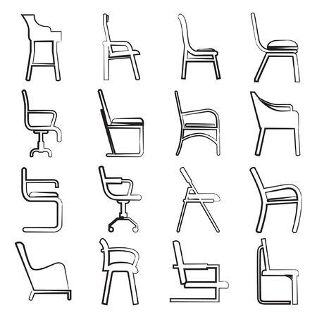 sketch chair collection Vector