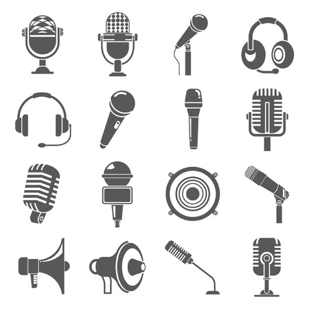 journalists: microphone icons