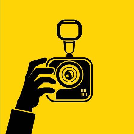 hand hold camera Stock Vector - 29185836