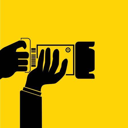 hand hold camera Stock Vector - 29185837