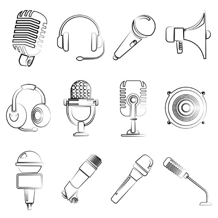 podcasting: sketch microphone icons