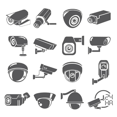 monitoring: cctv icons Illustration